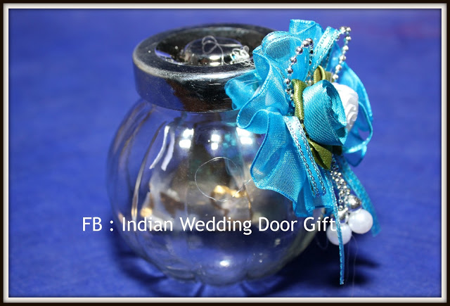 Silver Indian Wedding Gifts: Indian Wedding Door Gift: Round Glass Bottle With Silver Lid