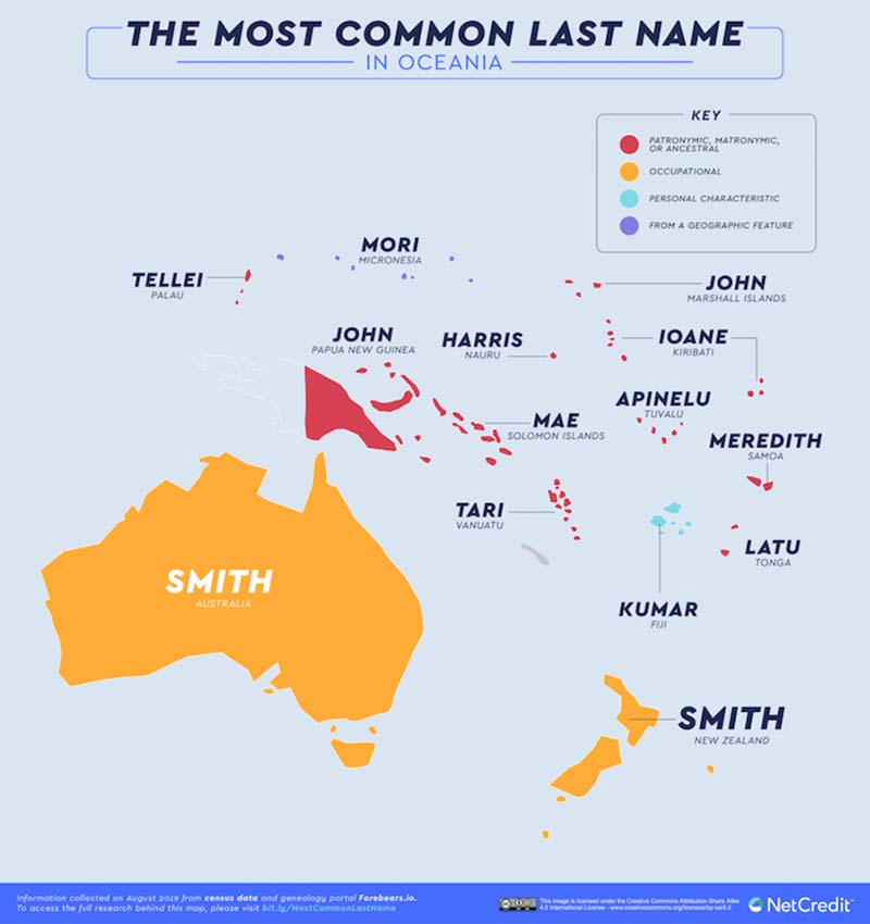 Map Shows The Most Common Surnames Last Name In Different Countries Of The world