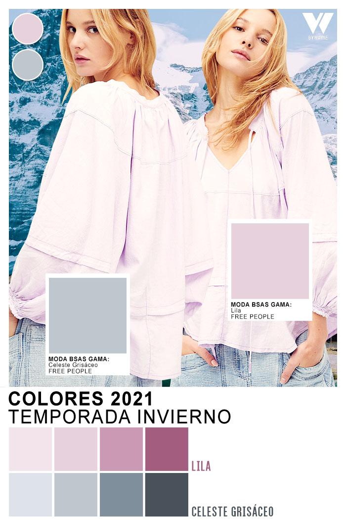 Paleta de colores 2021 otoño invierno moda mujer celeste lila