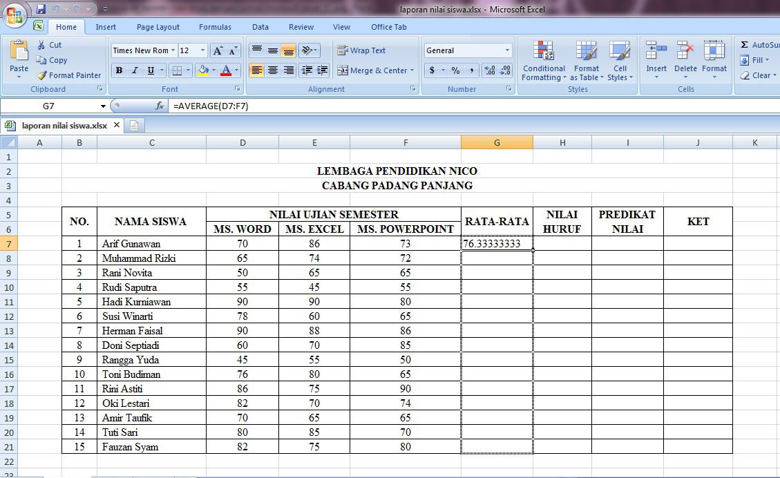 tutorial, cara, belajar, rumus, microsoft, excel, laporan, nilai, siswa, rata, if, average, otomatis, tabel