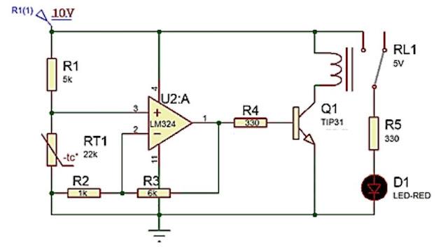 Implementasi sensor NTC dengan kendali on / off