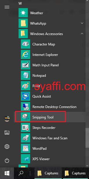 Snipping Tool pada Windows 10