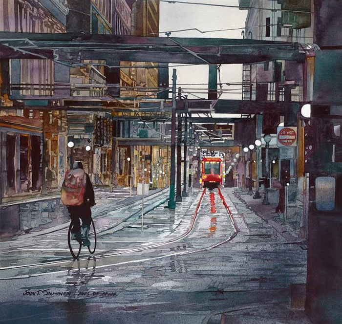 19-St-Paul-Biker-John-Salminen-Watercolor-Paintings-Taking-Glimpses-into-our-Life-www-designstack-co