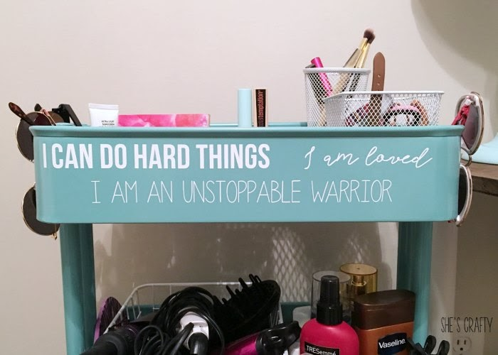 Blue Rolling cart - teen room storage with daily affirmations