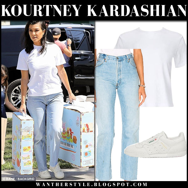 Kourtney Kardashian in white tee and jeans re/done street fashion september 19
