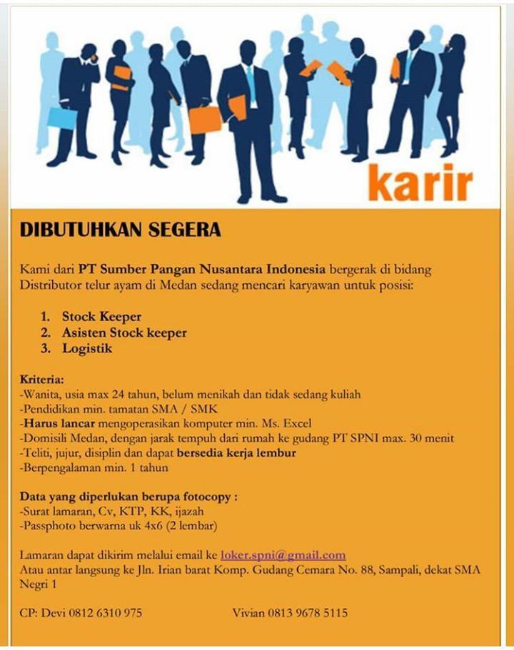 Info Loker Medan Juli 2020 Di Pt Sumber Pangan Nusantara Indonesia Tamatan Smk Sma Sebagai Stock Keeper Asisten Stock Keeper Logistik Medianya Informasi Lowongan Kerja Terbaru Di Medan 2020 I Lowonganmedan Com