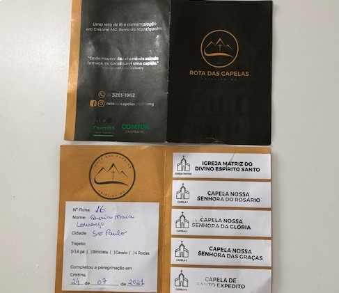 Credencial Rota das Capelas Cristina-MG
