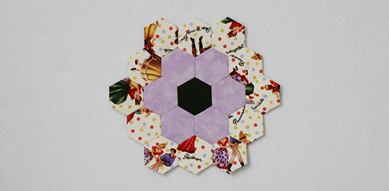 Block 2 for my EPP Hexagon Quilt Project