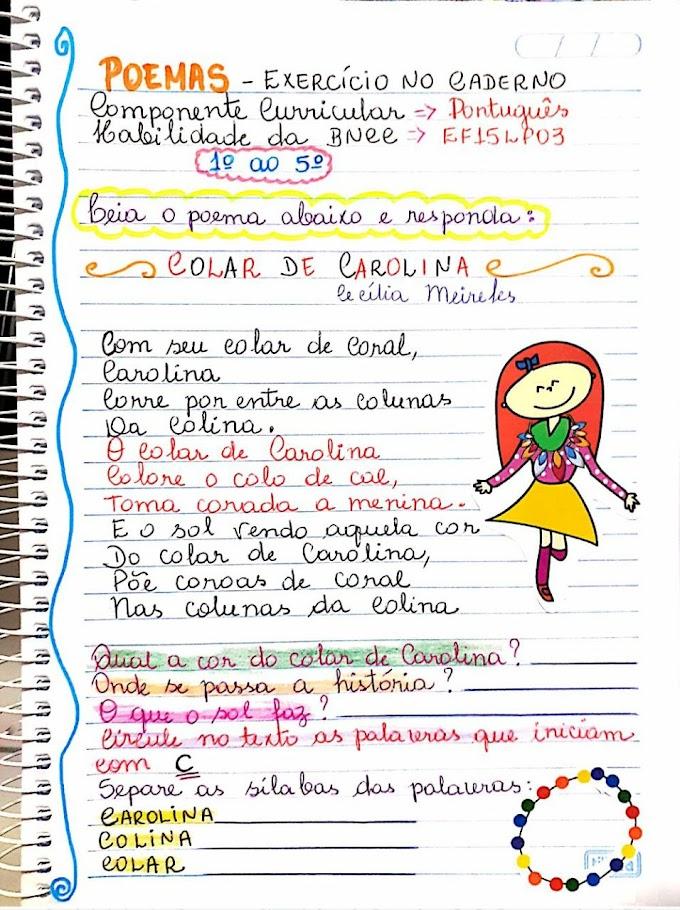 Exercício com interpretação do poema o colar de Carolina de acordo com a BNCC