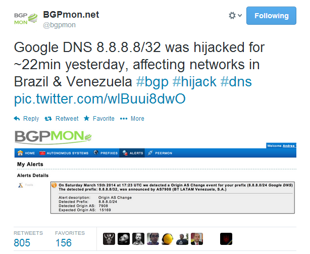 Google Public DNS Server Traffic Hijacked