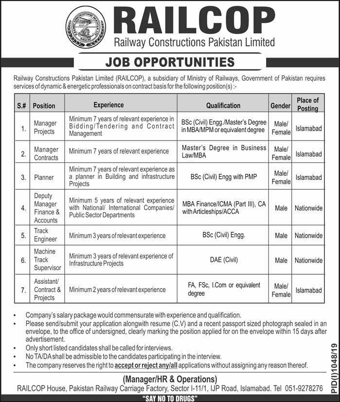 Railway Construction Pakistan Limited Jobs, RAILCOP Aug 19