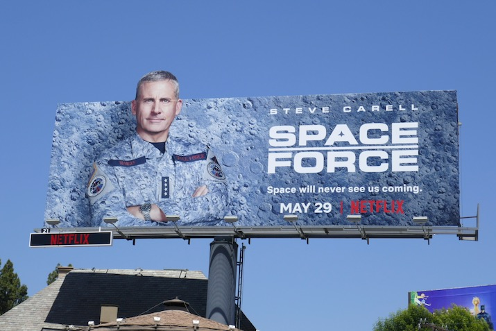 Steve Carell Space Force extension cut-out billboard