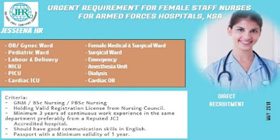 Female Staff Nurses Vacancies for Military Hospital in Saudi Arabia.