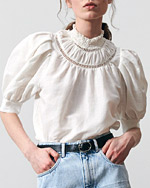 bluzka z bufkami biała