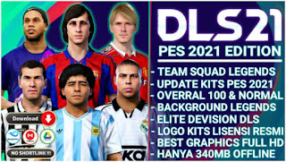 Download Dream League Soccer Mod PES 2021 Spesial Legends Clasic Edition & Best Graphics