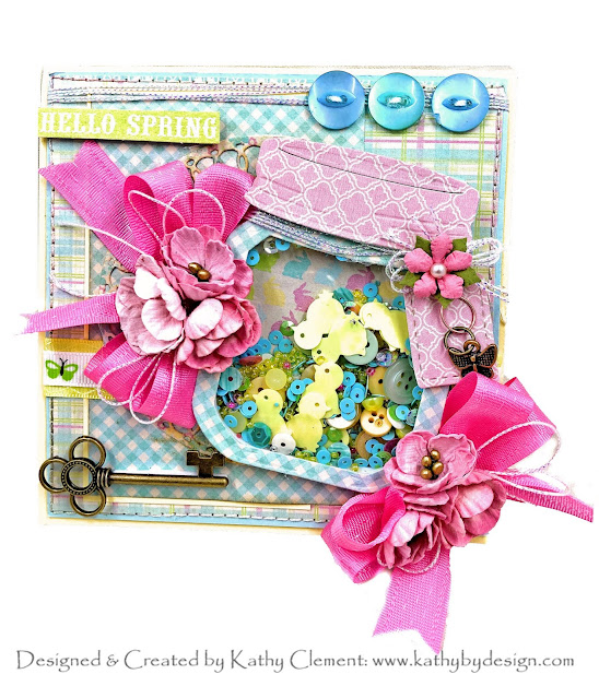 Authentique Springtime Shaker Card by Kathy Clement for Really Reasonable Ribbon