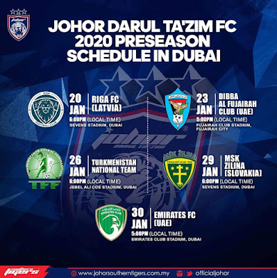 Live Streaming JDT vs Emirates FC 30.1.2020.