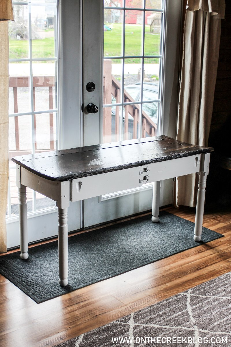 A free primitive table gets a cute & updated makeover! | On The Creek Blog