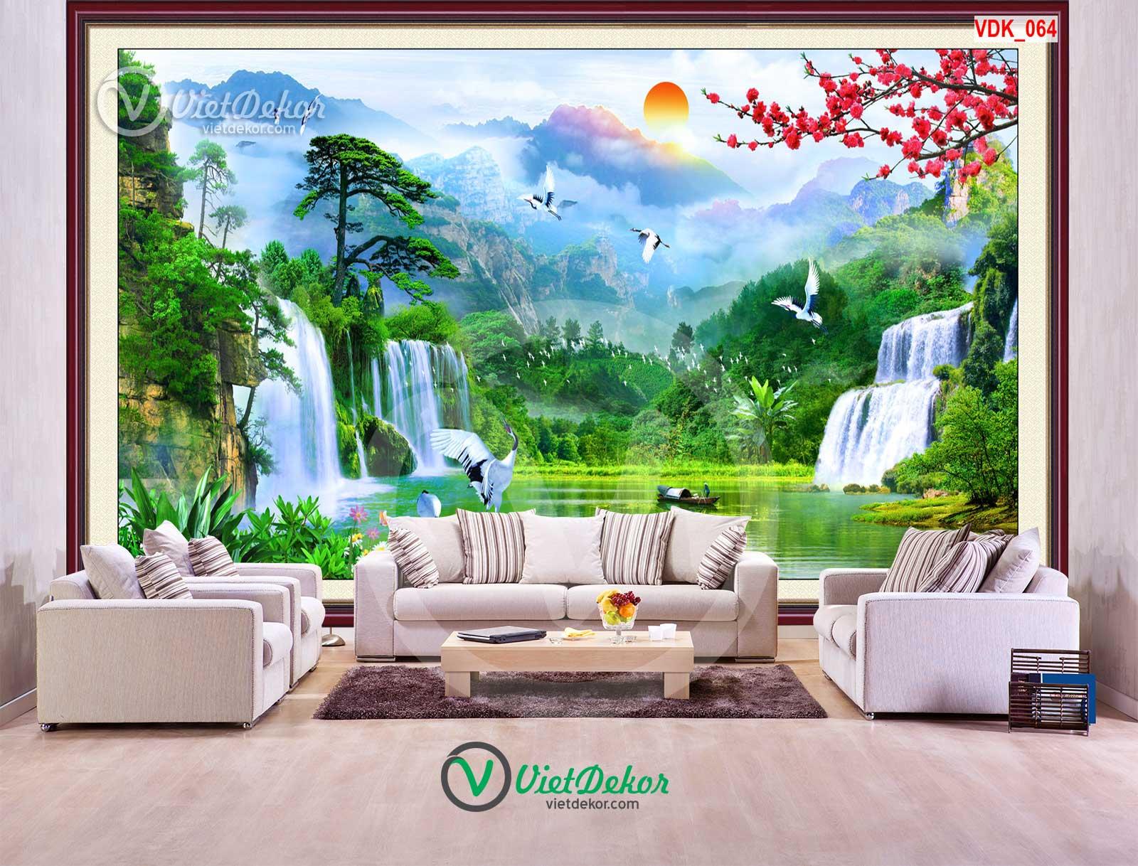 Tranh treo tường 3d phong cảnh sông nước cây tùng chim hạc