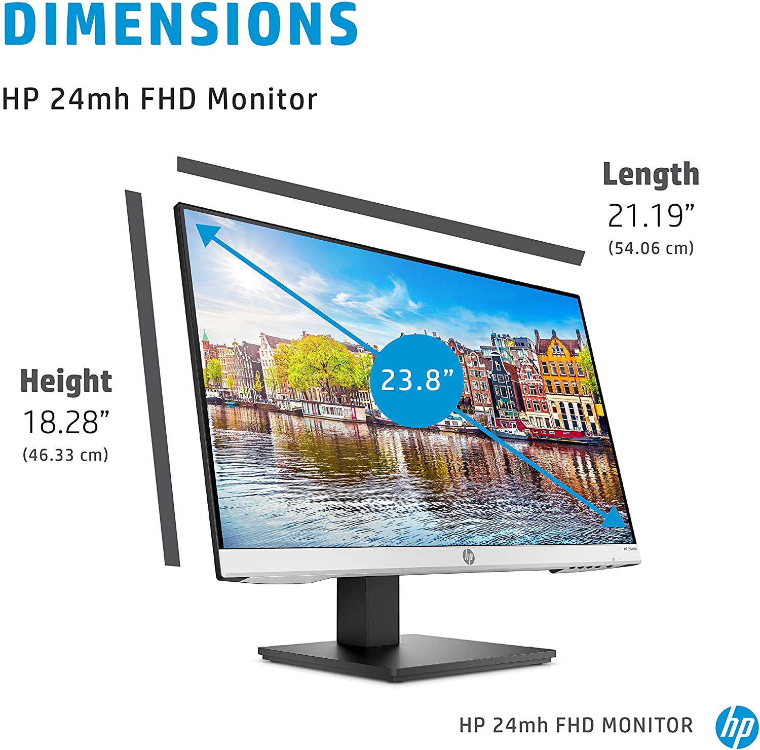 HP 24mh FHD Monitor - Computer Monitor with 23.8-Inch IPS Display (1080p)