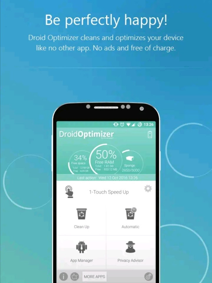 Tampilan aplikasi droid optimizer