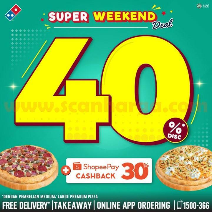 Promo Dominos Pizza Super Weekend Deal Discount 40%