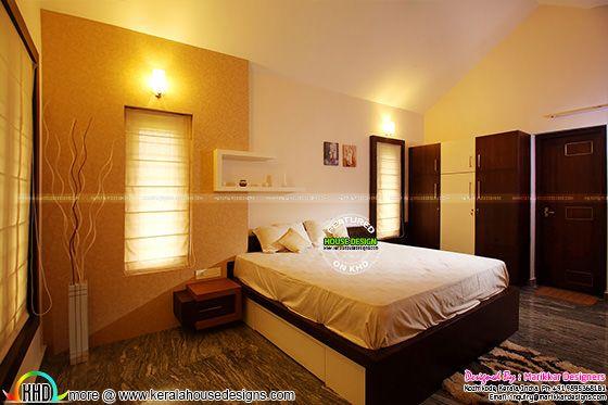 Furnished guest bedroom interior
