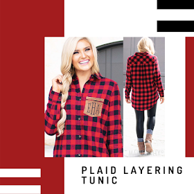 monogrammed plaid layering tunic