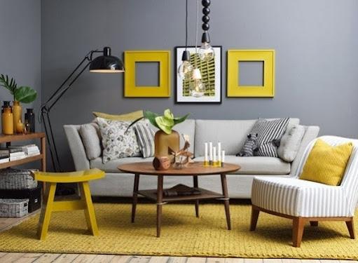 sắc vàng sẽ giúp không gian phòng khách bừng sáng