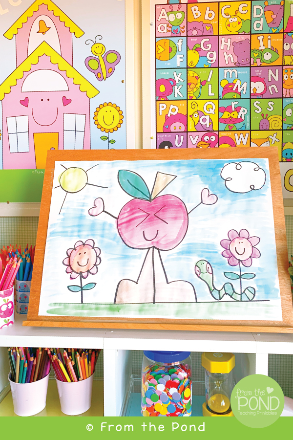 Cute Apple Drawing and Art Project for Kids