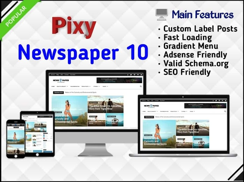 Pixy Newspaper 10 Template - Responsive Blogger Template