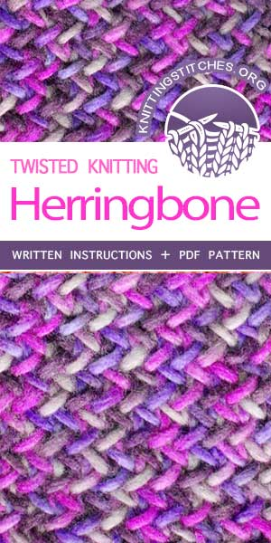 KnittingStitches.org -- The Art of Knitting, knit Herringbone stitch, beautiful stitch pattern!  #knittingstitches #knitlace