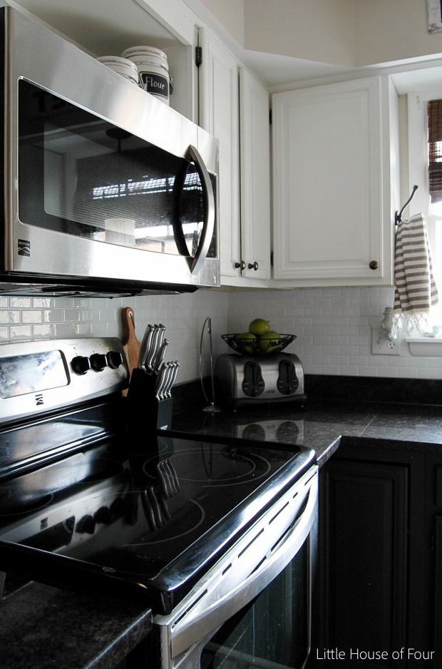 DIY peel and stick tile backsplash