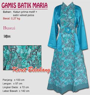 Gamis batik murah terbaru model kombinasi kain satin velvet polos modern