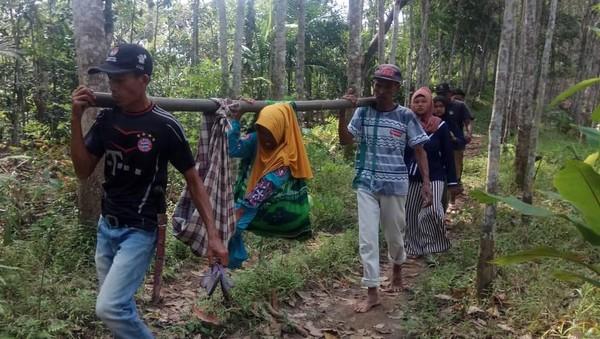 Cerita Warga Berjibaku Tandu Ibu Hamil Lewati Hutan Pandeglang