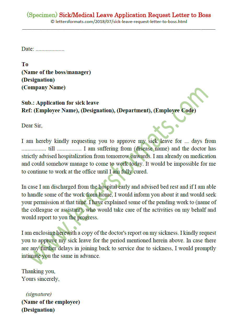 sick  medical leave application request letter to boss  manager