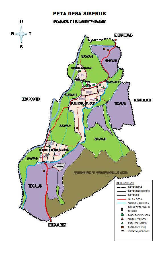 Peta Desa Siberuk Kecamatan Tulis Kab Batang - Siberuk my ...