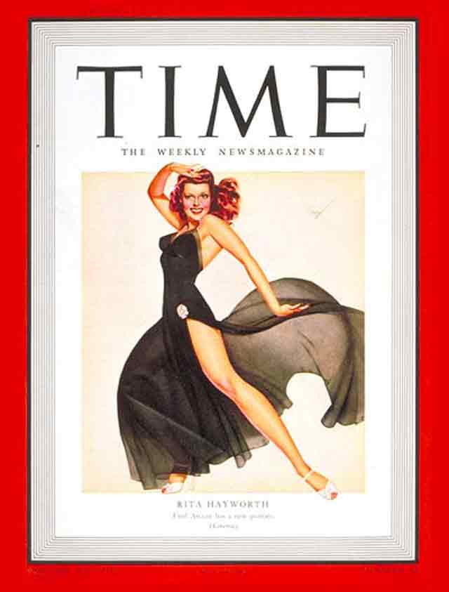 Rita Hayworth on the cover of Time, 10 November 1941 worldwartwo.filminspector.com