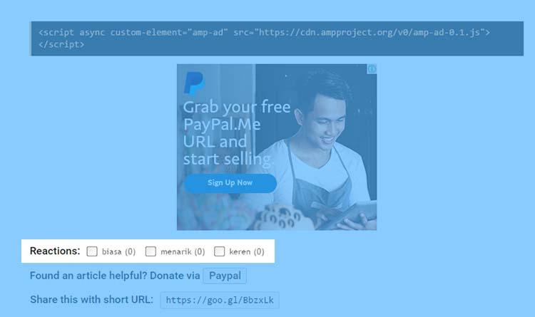 Menampilkan Tombol Reaksi Untuk Post Pada Blog AMP HTML