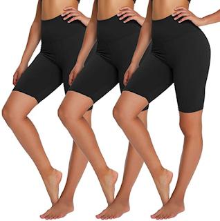 3 pairs of biker shorts worn a 3 womens legs