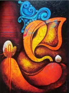 ganpati painting canvas images