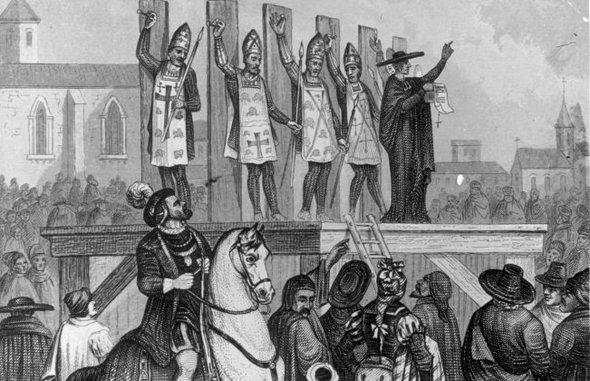 ilustración de la ejecución de herejes por el catolicismo romano