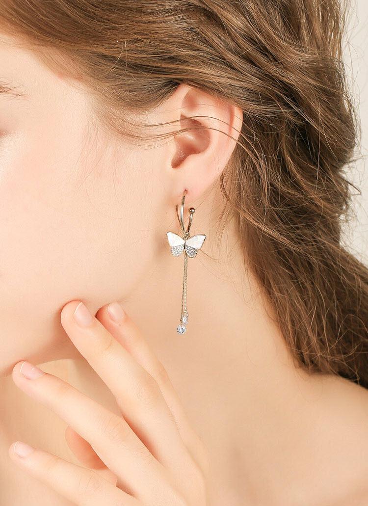 唯美白蝴蝶鋯石流蘇耳環
