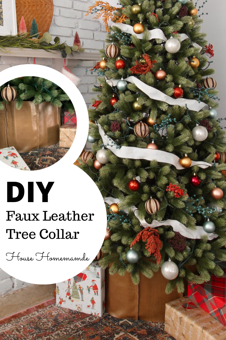 DIY faux leather christmas tree collar, hobby lobby fall floral sprays, copper, blush silvery blue and golden ornaments christmas tree