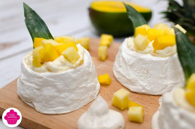 Mini pavlova à la mangue et à l'ananas - inspirée de la recette de Christophe Michalak - Bataille Food #31