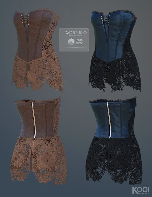 Corset Lace Outfit for Genesis 3 Female