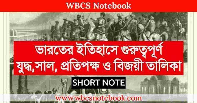 গুরুত্বপূর্ণ যুদ্ধ ও সাল এর তালিকা   Important Wars and Battles in Indian History