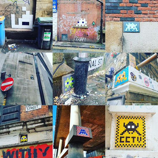 Space Invader street art in Manchester, London and Newcastle