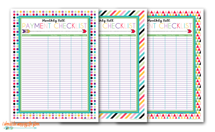 Free Printable Monthly Bill Pay Checklists