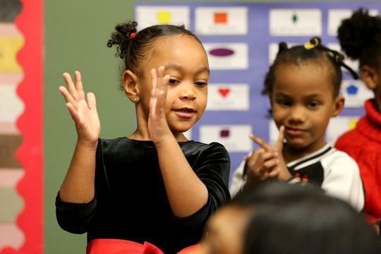 Students engage in a learning activity Wednesday in a Head Start classroom at the Cincinnati-Hamilton County Community Action Agency in Bond Hill. (Photo: Kareem Elgazzar/The Enquirer)